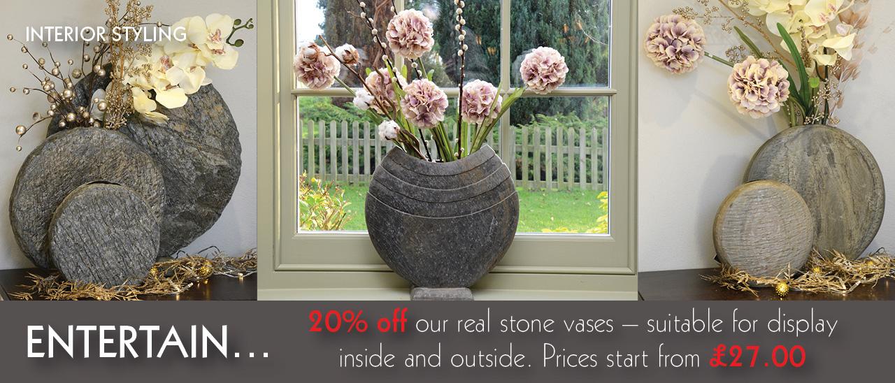 20% Off Natural Slate Vases