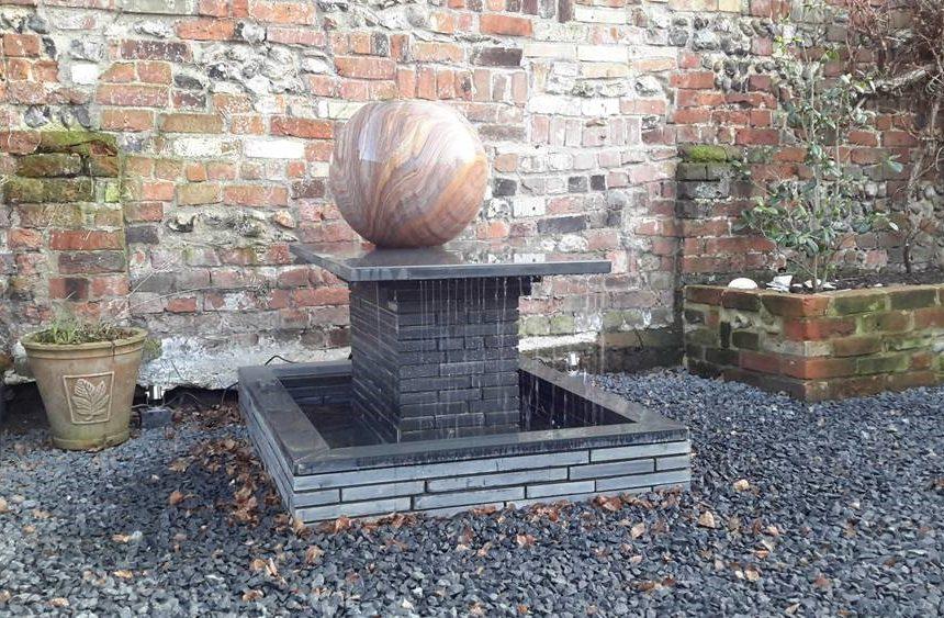 Round sphere water feature in situ