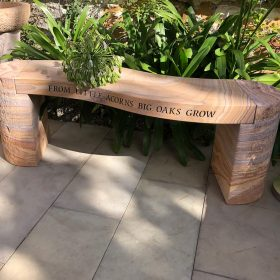 Personalised Engraved Jasper Curved Rainbow Sandstone Bench
