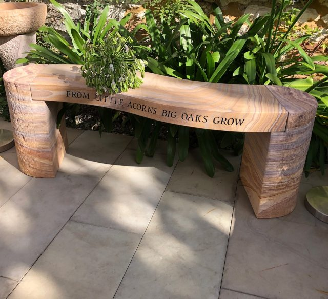 Strange Personalised Stone Bench Rainbow Sandstone Foras Stone Caraccident5 Cool Chair Designs And Ideas Caraccident5Info