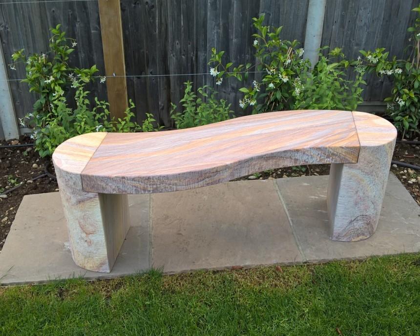 Jasper Curved Sandstone Bench