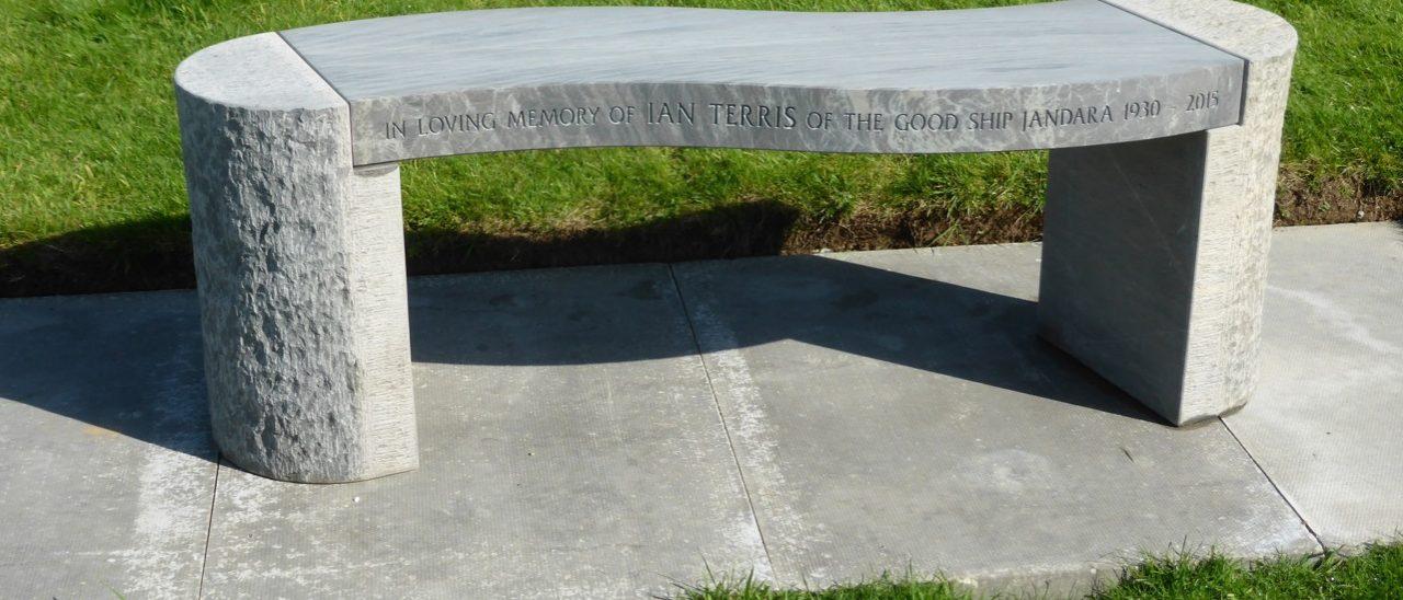 Jasper Curved Shark Sandstone Memorial Bench