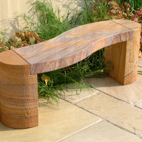 Jasper Curved Rainbow Sandstone Bench