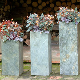Set Of 2 Surmi Square Natural Slate External Planters / Plinths