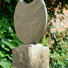 Ikra 40cm Natural Slate Sculpture With Surmi Plinth