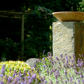Horton Rainbow Birdbath on Natural Slate Square Plinth