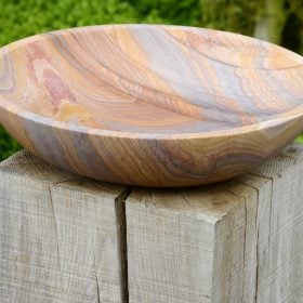 Flight Bowl – Rainbow Sandstone Birdbath (Bowl Only)