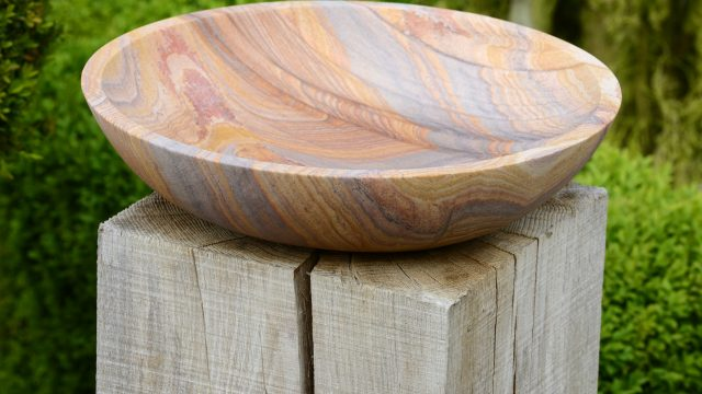 Flight Bowl - Rainbow Sandstone Birdbath (Bowl Only)