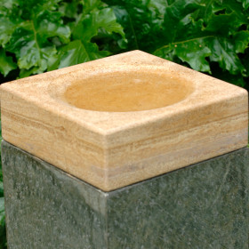 Boston Natural Stone Bowl/Birdbath Feeder