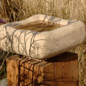 Font – Natural Stone Bowl/Birdbath on Oak Plinth