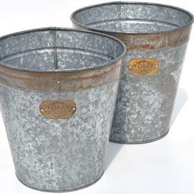 Keswick Vintage Zinc Planters – Set of Two
