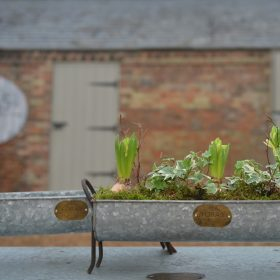 Set of Two Snuffle Vintage Metal Trough Planters
