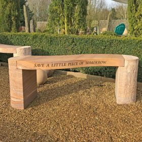 Personalised Jasper Curved Rainbow Sandstone Bench