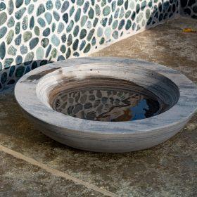 Acorn Shark Sandstone Birdbath – Bowl Only