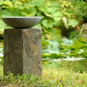 Acorn Shark Sandstone Birdbath on Natural Slate Plinth