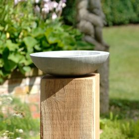Acorn Shark Sandstone Birdbath on Weathered Oak Wooden Plinth