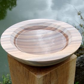 Acorn Rainbow Sandstone Birdbath on Weathered Oak Wooden Plinth