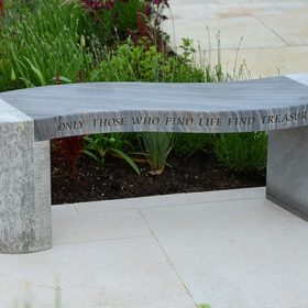 "Philosophy Engraved Jasper Shark Sandstone Bench ""Only those who find life find treasures"""