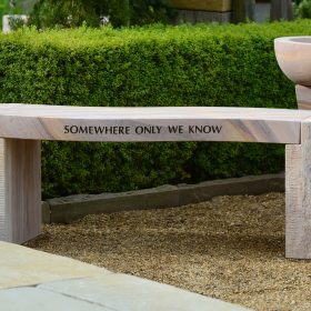 "Jasper ""Somewhere only we know"" Rainbow Engraved Bench"