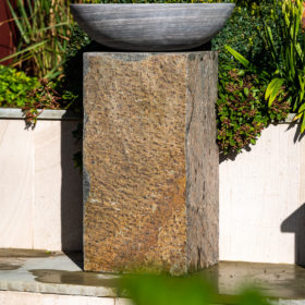 Set Of 2 Surmi Rectangle Natural Slate External Planters / Plinths