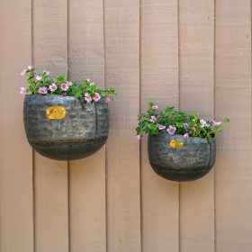 NEW Myrtle Graphite Galvanised Iron Wall Planters – Set Of 2