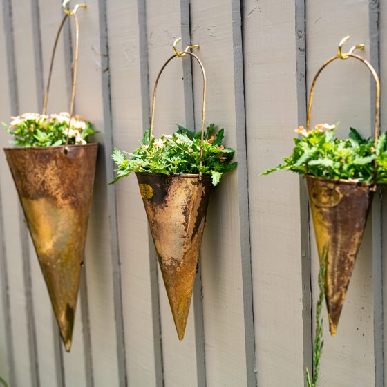 NEW Hornbeam Conical Brass Hanging Planters – Set Of 3