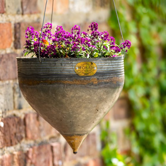 NEW Clover Graphite Galvanised Iron Hanging Planter PRE ORDER- Delivery Spring 2020