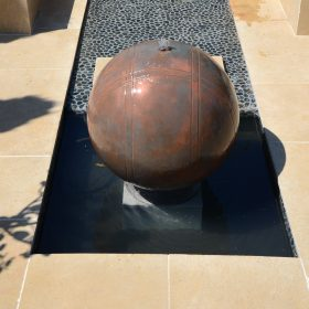 Copper Boule 75cm Pebble Pool Water Sculpture Kit