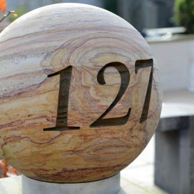 Personalised 40cm Rainbow Sandstone Spherical House Signs