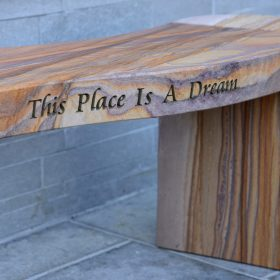 "Jasper ""This Place Is A Dream"" Engraved Rainbow Sandstone Philosophy Bench"