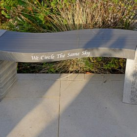 "Jasper ""We Circle The Same Sky"" Engraved Shark Sandstone Philosophy Bench"
