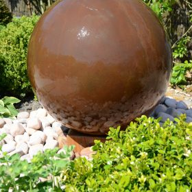 Corten Ball 75cm Pebble Pool Water Sculpture Kit