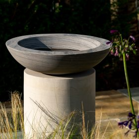 Acorn Shark Birdbath on Circular Mint Sandstone Plinth