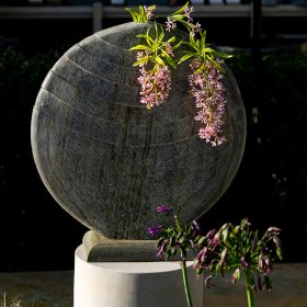 Caviara 50cm Natural Slate Vase With Circular Sandstone Plinth