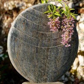 Caviara 60cm Natural Slate Vase With Circular Sandstone Plinth