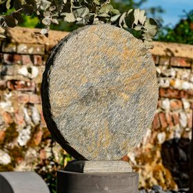 Basa 60cm Natural Slate Vase With Circular Sandstone Plinth