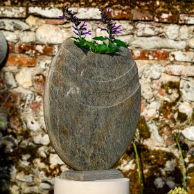 Ikra 50cm Natural Slate Sculpture With Circular Sandstone Plinth