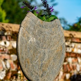 Ikra 60cm Natural Slate Sculpture With Circular Sandstone Plinth